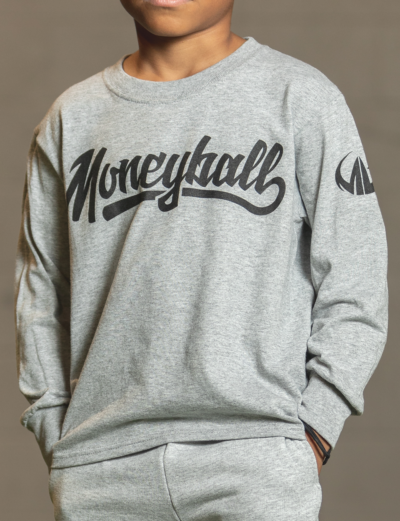 Moneyball Sportswear Lifestyle Kids Long Sleeve T-Shirt - Grey